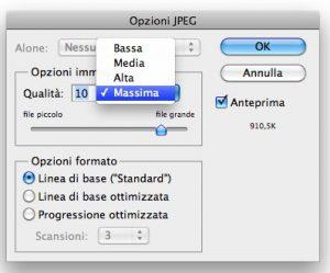 Opzioni formato jpg